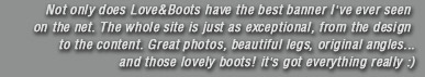 Not only does Love&Boots have the best banner I've ever seen on the net. The whole site is just as exceptional, from the design to the content. Great photos, beautiful legs, original angles... and those lovely boots! it's got everything really